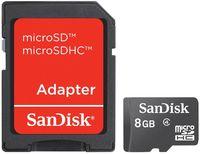 Карта памяти micro SDHC 8Gb SanDisk Class 4 (c адаптером)