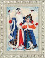 "Вышивка крестом ""Дед Мороз и Снегурочка"" (390х255 мм)"