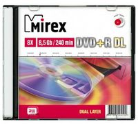 Диск DVD+R Dual Layer 8.5Gb 8x Mirex slim