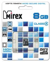 Карта памяти micro SDHC 8Gb Mirex Class 4 (без адаптера)
