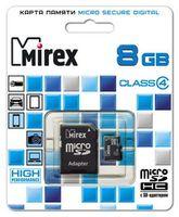 Карта памяти micro SD 8Gb Mirex (с адаптером)