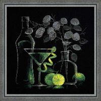 "Вышивка крестом ""Натюрморт с мартини"" (300х300 мм)"